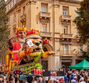 Large floats parade through the streets of Valletta at the Carnival in Malta.