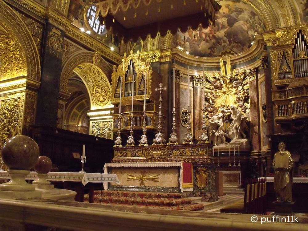 The cathedral's beautifully decorated altar.