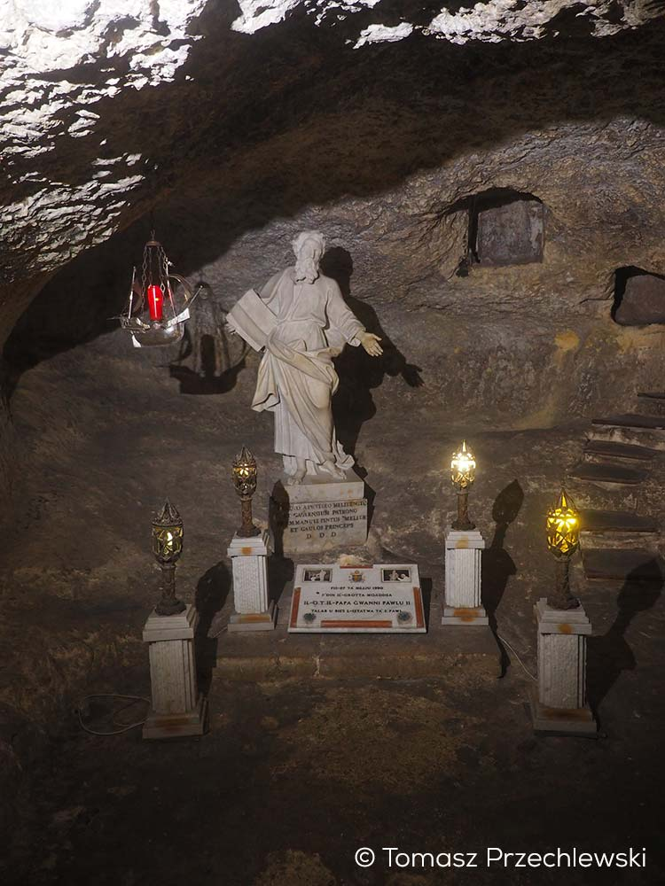 Small statue of St. Paul in the grotto underneath the nearby Wignacourt Museum.